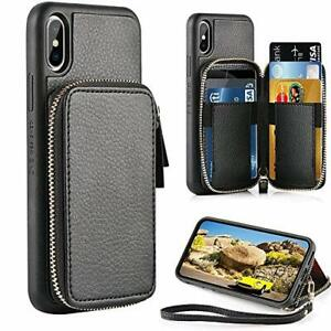 For iPhone XS Max Wallet Case Zipper PU Leather Card Holder Cover w/Strap Black