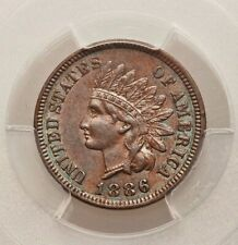 1886 Variety 1 PCGS AU58 Indian Head Cent Type 1 About Uncirculated Better Date