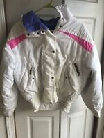 Vtg Womens Slalom Ski Jacket Full Zip 80s 90s Down Puffer White Pink Size 8