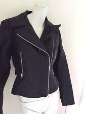Alaia black biker jacket stiff cotton sz 42 or 8 nwt