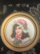 Vintage Chimney Flue Cover W/ Young Girl Victorian Era Child