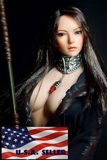 "1/6 European American Female Head sculpt Long Black Hair For 12"" Hot Toys Phicen"