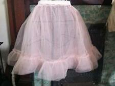 """Vintage 60's Pink Tulle Skirt Petticoat Slip 3 Layers 24""""-30"""" W 22""""L"""