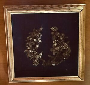 Large antique Victorian hair wreath with beads, custom framed