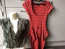 Topshop smart red black stripe peplum dress size 6 & green crop top size 8