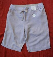 beme Elastic Rib Waist Lightweight Linen Shorts LT Brown Size 14