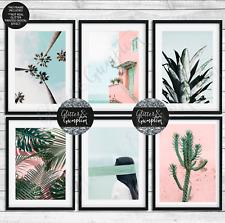 More details for scandi art, palm tree, cacti print, pink tropical, pineapple print bedroom art