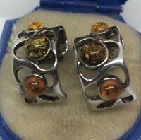 Vintage Sterling Silver Earrings 925 Modernist Baltic Amber Hoops Brutalist