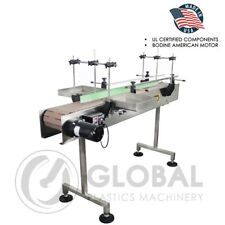 Globaltek 6 X 75 Dual Lane Ss Conveyor With Table Top Plastic Belt