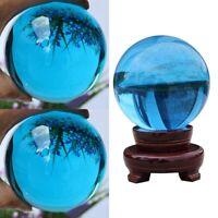 40mm Asian Rare Natural Quartz Sea Blue Magic Crystal Healing Ball Sphere Decor