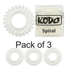 FASCE DI CAPELLI Telefono Stile Filo Bianco Confezione da 3 vere Kodo Spirale Per Capelli Bobbles