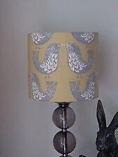 HANDMADE 20cm FABRIC LAMPSHADE SCANDI LOVE BIRDS ILIV MUSTARD YELLOW HYGGE RETRO
