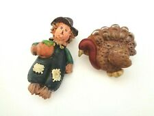 and Turkey Pin Brooch. Vintage Scarecrow with Pumpkin
