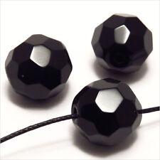 Lot de 10 perles à FACETTES 14mm en Cristal de Bohème Noir