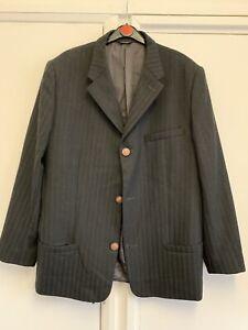 Gianni Versace men's Black Stripe suit, Size 52