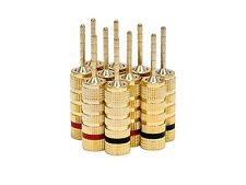 10 Speaker Plugs 24k Gold Plated 5 Pair/10 pcs Speaker Plug Pin Screw Type NEW