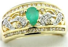 Emerald Diamond 9ct 9K Solid Gold Antique Style Ring - SZ N/7.0 - 30 Day Returns