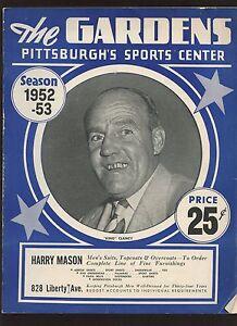 1952-53 AHL Hockey Program Cleveland Barons at Pittsburgh Hornets VG-EX