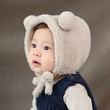 5f625486 Toddler Girls Boys Crochet Bear Ear Flap Beanie Hat Newborn Baby Warm Soft  Cap Beige