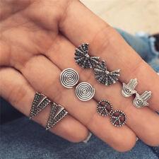 5Pairs Silver GeometricTriangle Earrings Palm Ear Stud Earrings Lady JewelrySC