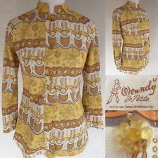 Vintage Wenndy for Corvel size 12 Jacket Yellow Floral Knit Polyester