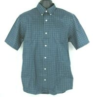 NEW Duluth Trading Co Mens Small S Blue Plaid Button Down Short Sleeve Shirt NWT