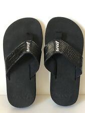 Reef Casual Flip Flops - Women's Size 5, Black Patent Leather Faux Alligator