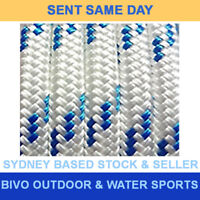 Double Braid Polyester Marine Sailing General Purpose Rope 8mm x 100M Blue Fleck