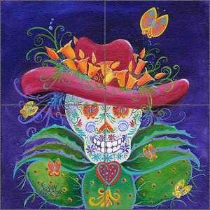 Floor Tile Medallion Mural Libby Southwest Skeleton Floral Art SLA023