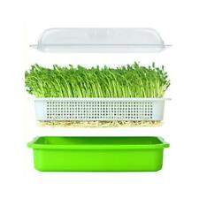 Seed Sprouter Tray BPA Free PP Soil-Free Wheatgrass Grower Lid Plate Hydroponics