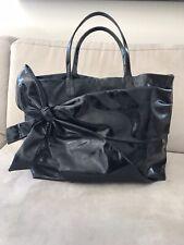 VALENTINO Garavani Black Patent Leather Bow Accent Tote Woman Handbag Purse