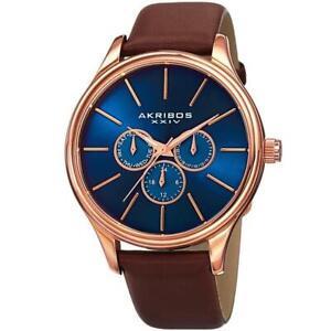 Akribos XXIV AK870RGBU Day Date GMT Leather Strap Blue Dial Brown Mens Watch
