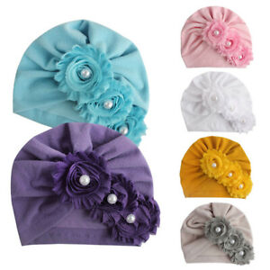 New Baby Drill Solid Color Head Scarf Sunflower Cap Infant Hat Pearl Sun Hat