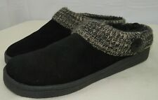 Clarks Women's Black Angelina Knitted Collar Winter Clogs Slippers Size 11 US