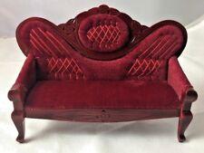 Victorian Red Velvet Plastic Sofa Dollhouse