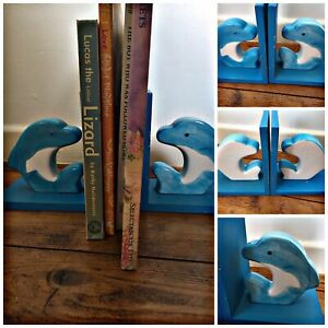 Vintage BOOKENDS Dolphins Ceramic Sea  Blue White Childs Room Nursery Bookends.