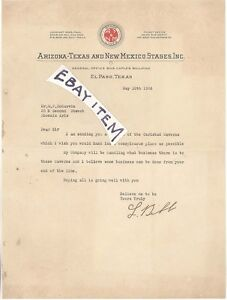 1926 EL PASO Texas Arizona New Mexico STAGES Lockhart Bibb Charles Hill RAWLINS