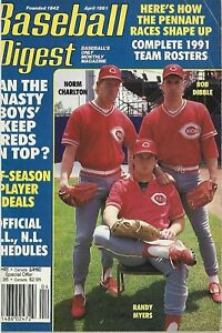 APRIL 1991 BASEBALL DIGEST CINCINNATI REDS ROB DIBBLE RANDY MYERS NORM CHARLTON
