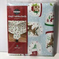 "Christmas Vinyl Tablecloth Snowglobes Reindeer Snowman Owl Round 60"" Blue"