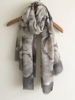 LADIES GREY FLORAL PRINT WITH GREY BORDER AND FEATHER EDGING SCARF WRAP