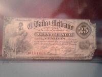 Mexico Banknote 25 Centavos Revolution 1878 *G* %(