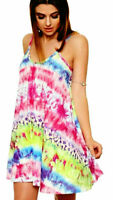 Women Ladies Printed Strappy Swing Sleeveless Mini Summer Vest Cami Dress Top