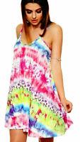 Women Ladies Printed Strappy Swing Sleeveless Mini Summer Vest Cami Dress Top