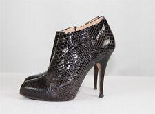 Giuseppe Zanotti Women's Ankle Boots 40 US 10 Patent Black Snakeskin Booties