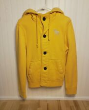 Abercrombie & Fitch Mens Muscle Button Thick Yellow Sweat Shirt Hoodie Sz S