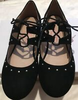 Jessica Simpson Girls Black Casual Shoes Faux Suede Maryjane Strappy Size 5 NWB