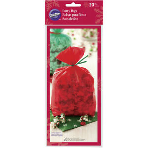 Wilton 20pc VARIOUS Christmas Clear Cellophane Sweet Treat Party Bags with Ties