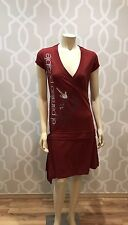 Desigual Spain Women's Dress Red Cotton Faux Wrap Graphic Print S/S L Large NWT