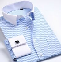 French Cuff New Men's Striped Formal Slim Casual Shirts Business Dress Shirts