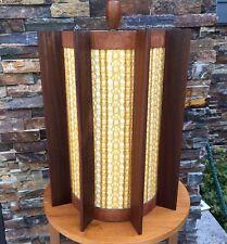 Large Vintage Mid Century Modern Teak Swag Lamp Hanging Chain Light MCM
